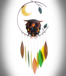 Spiky Owl and Moon Wind Chime