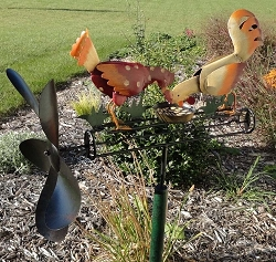 Pecking Chickens Whirligig with Pole
