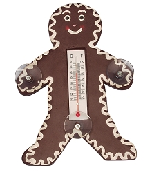 Holiday Gingerbread Man Window Thermometer Small