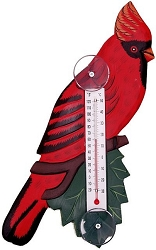 Cardinal on Branch Window Thermometer Small