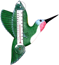 Green Hummingbird Window Thermometer Small