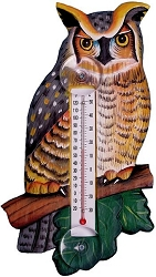 Great Horned Owl Window Thermometer Small