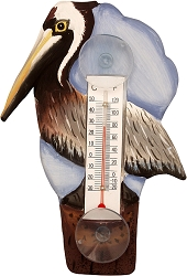 Brown Pelican on Pier Window Thermometer Small