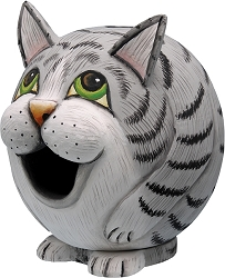 Grey Tabby Cat Gord-O Birdhouse