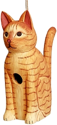 Sitting Orange Tabby Cat Birdhouse