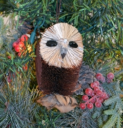 Brushart Bird Ornament Owl