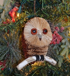 Brushart Bird Ornament Spotted Owl with Branch