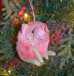 Brushart Pink Pig Ornament