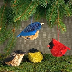 Brushart Bird Ornament Songbirds Set of 4