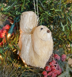 Brushart Dog Ornament Maltese