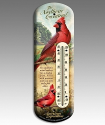 Northern Cardinal 3-D Tin Back Porch Thermometer