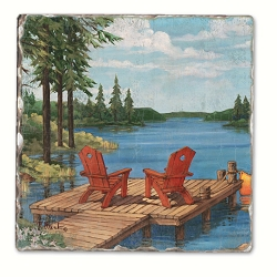 Lakeside Dock Tumbled Tile Coaster Set of 4