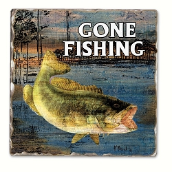 Gone Fishing Tumbled Tile Coaster Set of 4