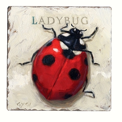 Ladybug Tumbled Tile Coaster Set of 4