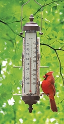 Grande View Bird Feeder Thermometer Bronze Patina