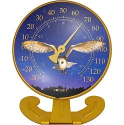 Decor Convertible Large 10 Inch Dial Thermometer Barn Owl