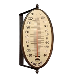 Decor Vintage Oval Thermometer Bronze Patina