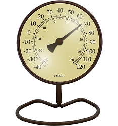 Decor Convertible Small 4 Inch Dial Thermometer Classic Bronze Patina
