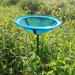 Crackle Glass Birdbath Stake Teal