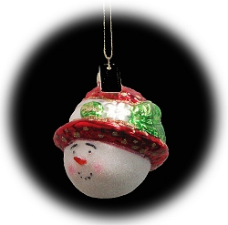 Straw Hat Snow Girl Red Blown Glass Ornament