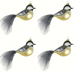 Cobane Studio Chickadee with Feather Tail Blown Glass Ornament Set of 4