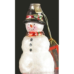Rustic Snowman Blown Glass Ornament