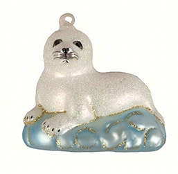 Harp Seal Baby Blown Glass Ornament