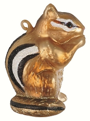 Chipmunk Blown Glass Ornament
