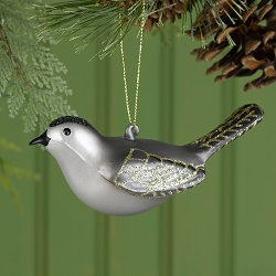 Cobane Studio Gray Catbird Glass Ornament