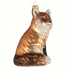 Red Fox Blown Glass Ornament
