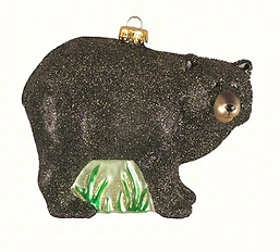 Northwoods Black Bear Blown Glass Ornament