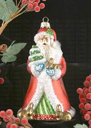 Father Christmas with Bunnies Blown Glass Ornament