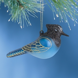 Cobane Studio Steller's Jay Blown Glass Ornament