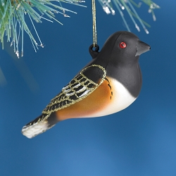 Cobane Studio Rufous Sided Towhee  Blown Glass Ornament