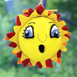 Sunflower Birdhouse Global Hand Crafted Hand Felted Wool Wild Woolies