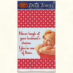 Never Laugh Retro Dish Towel