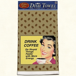 Drink Coffee Retro Dish Towel