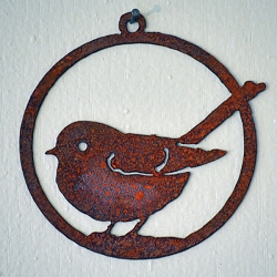 Elegant Garden Design Silhouette Fat Chickadee Ornament