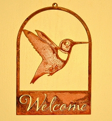 Hummingbird Silhouette Roundtop Welcome Sign
