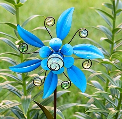 Illuminarie Flower Pinwheel Stake Blue Set of 4