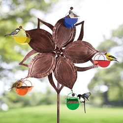 Bronze Flower Ferris Wheel Bird Feeder