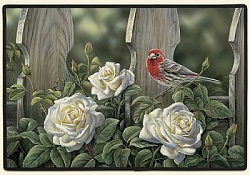 House Finch & Roses Doormat