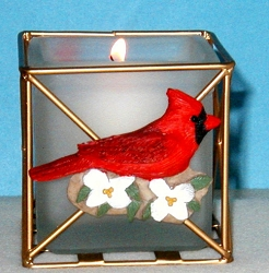 Audubon Cardinal & Dogwood Candle Holder