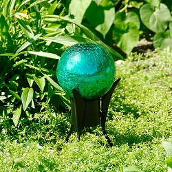 Crackle Glass Gazing Globe Emerald Green 6