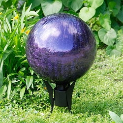 Crackle Glass Gazing Globe Plum 12