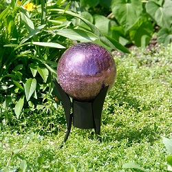Crackle Glass Gazing Globe Plum 6