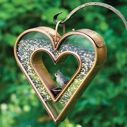 Heart Fly-Through Bird Feeder Venetian Bronze