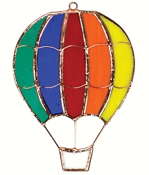 Rainbow Hot Air Balloon Stained Glass Suncatcher