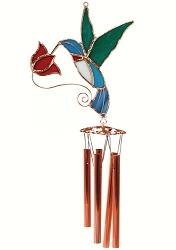 Hummingbird with Red Flower Stained Glass Windchime Small 20