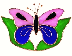 Butterfly Pink & Purple with Leaves Stained Glass Suncatcher